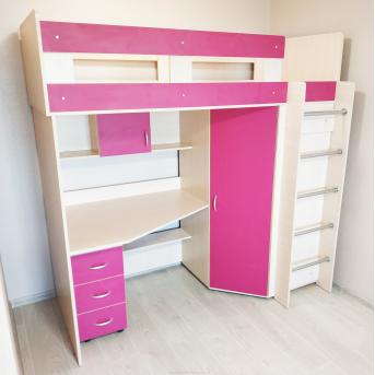 Кровать-чердак со столом 8-1 80x190 (101)