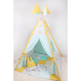 Детская палатка-вигвам в желто-мятных тонах 125х125х170 см Мирамель