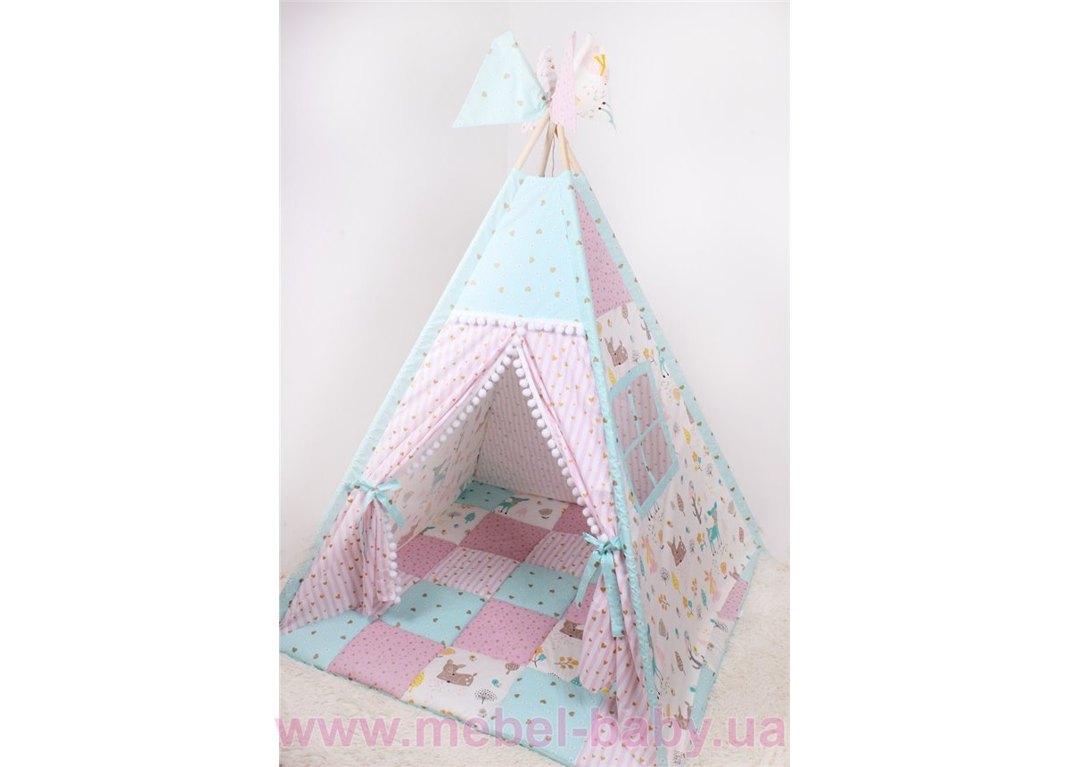 Детская палатка-вигвам Лесные животные 125х125х170 см Мирамель
