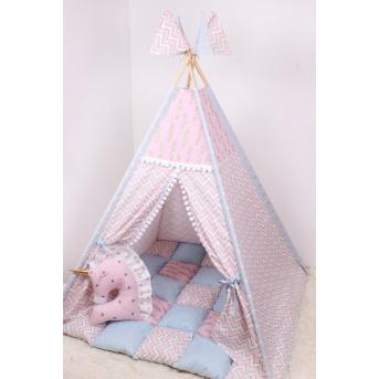 Детская палатка-вигвам с ковриком 125х125х170 см Мирамель Розовый