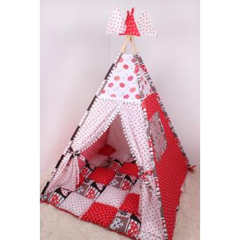 Детская палатка-вигвам с ковриком в красных тоная 125х125х170 см Мирамель