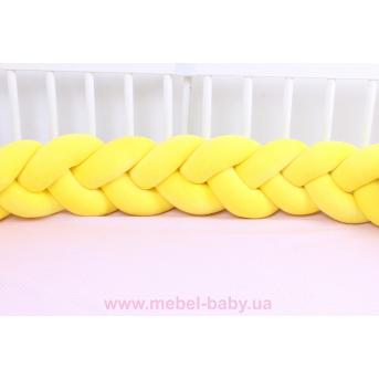 Бортик косичка в кроватку в 3 плетения Мирамель Желтый