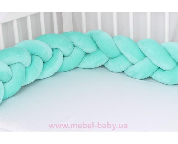 Бортик косичка в кроватку в 3 плетения Мирамель мятный