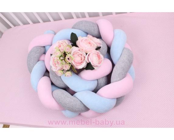 Бортик косичка в кроватку в 3 плетения Мирамель розовый с голубым