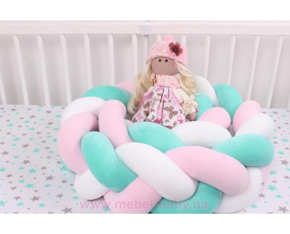 Бортик косичка в кроватку в 3 плетения Мирамель голубой с розовым
