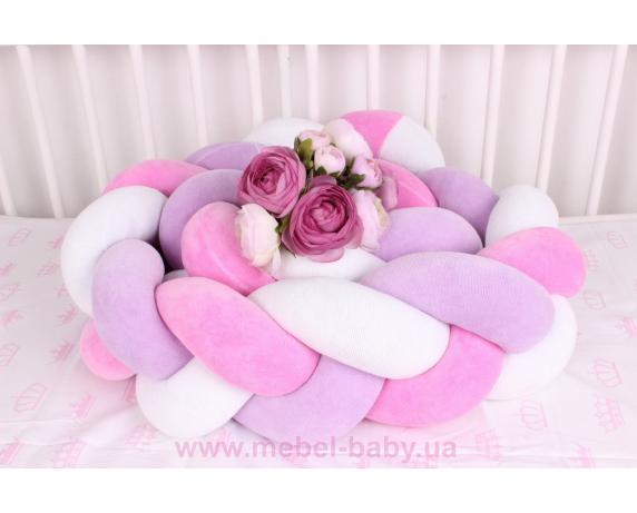 Бортик косичка в кроватку в 3 плетения Мирамель розовый с фиолетовым на белом