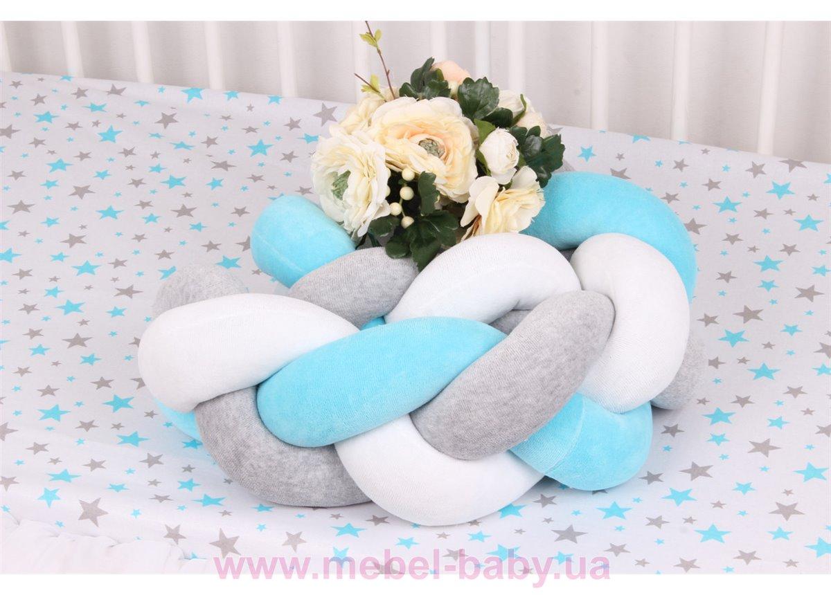 Бортик косичка в кроватку в 3 плетения Мирамель Разноцветный