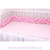Бортик косичка в кроватку в 3 плетения Мирамель розовый