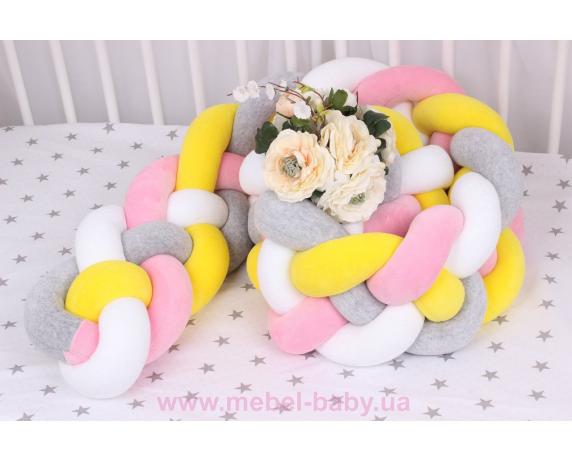 Бортик косичка в кроватку в 4 плетения Мирамель розовый с желтым
