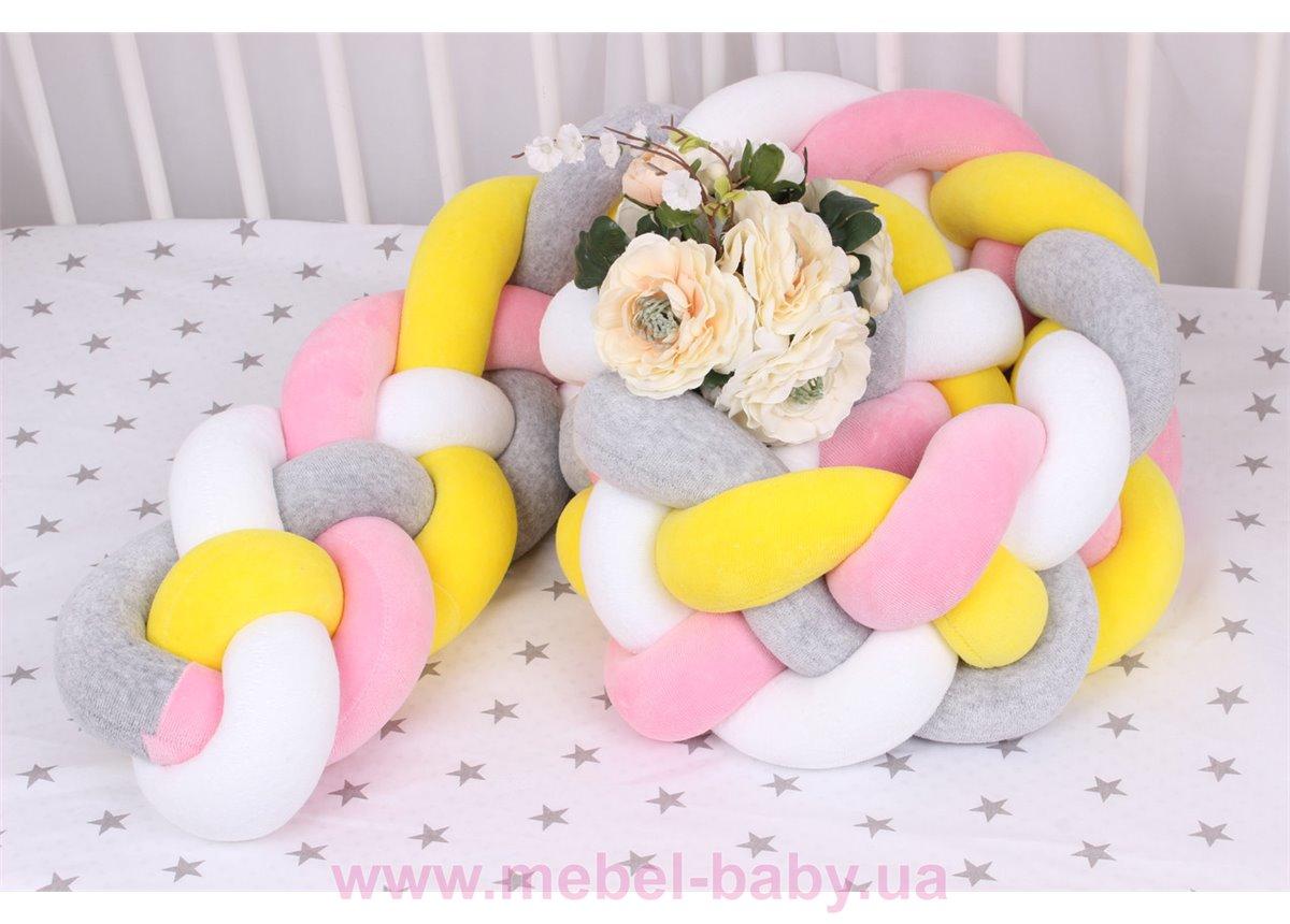 Бортик косичка в кроватку в 4 плетения Мирамель Разноцветный