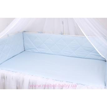 Тонкие бортики защита в кроватку нежно голубой Мирамель 60х120