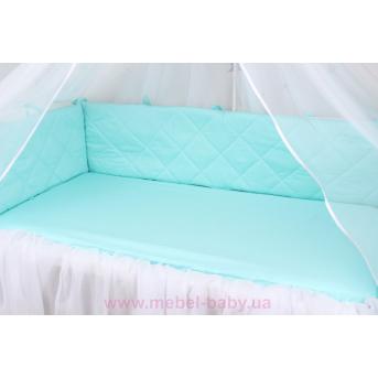 Тонкие бортики защита в кроватку нежно мятного цвета Мирамель 60х120