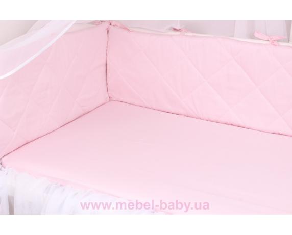 Тонкие бортики защита в кроватку нежно розового цвета Мирамель 60х120