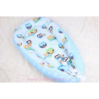 Кокон - гнездышко для новорожденного в голубых тонах с совами  Мирамель 80х50 см