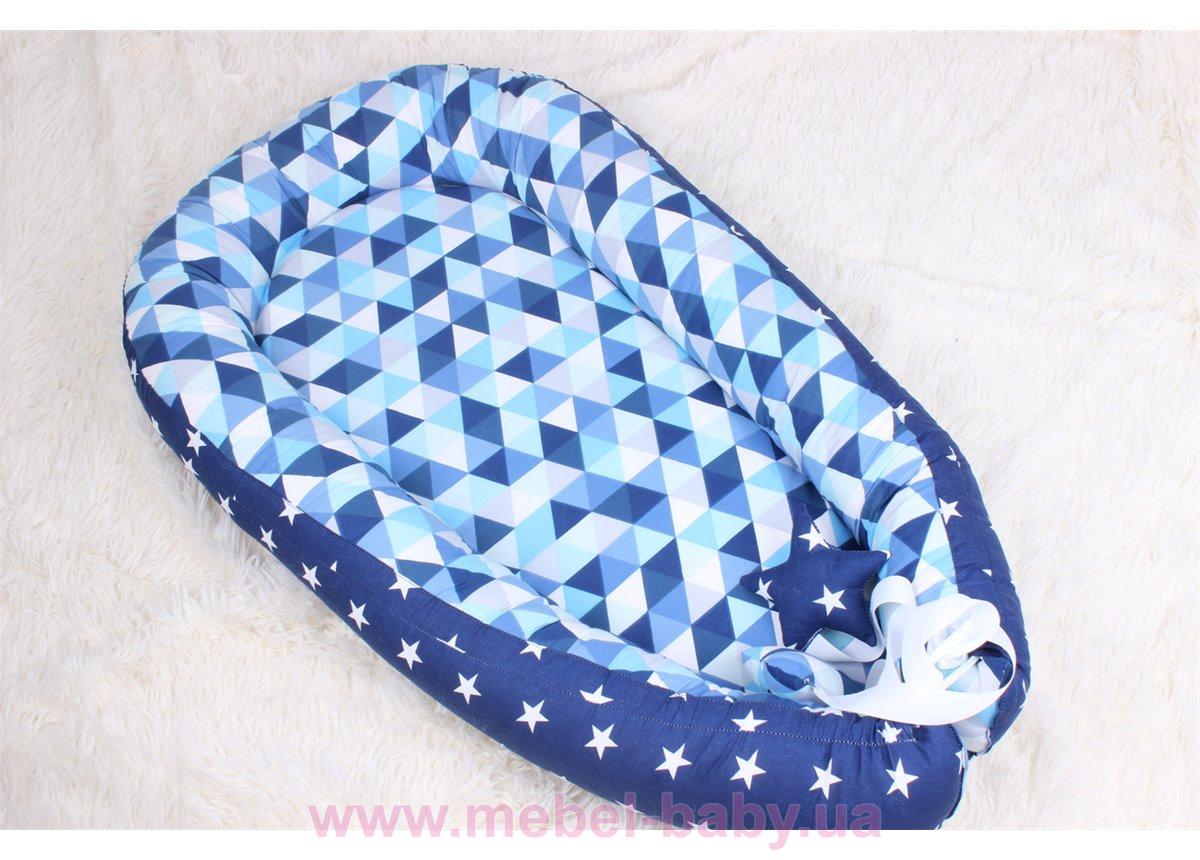 Кокон - гнездышко для новорожденного в синих тонах  Мирамель 80х50 см