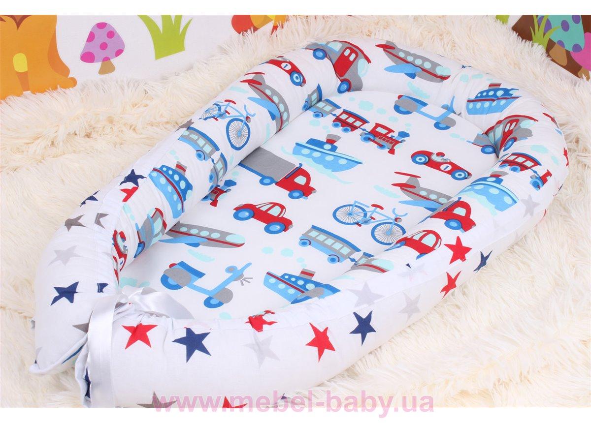Кокон - гнездышко для новорожденного в синих цветах  Мирамель 80х50 см