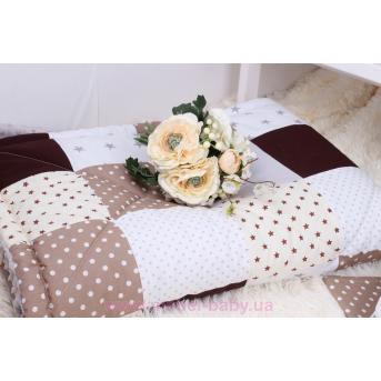 Детское лоскутное одеяло на плюше в бежево-серых тонах Осень-Весна Мирамель
