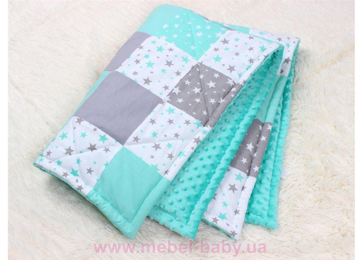 Детское лоскутное одеяло на плюше в мятных тонах Осень-Весна Мирамель