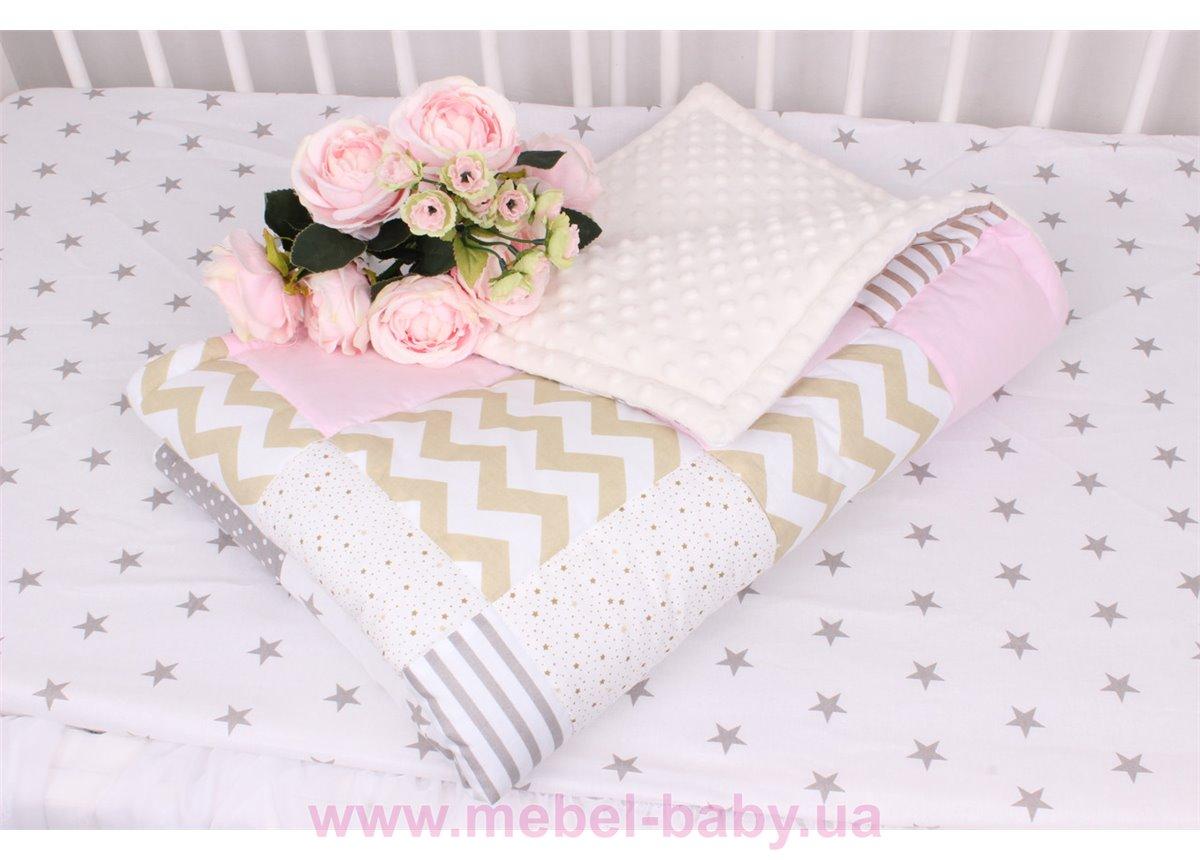 Детское лоскутное одеяло на плюше в нежно бежевых тонах Осень-Весна Мирамель