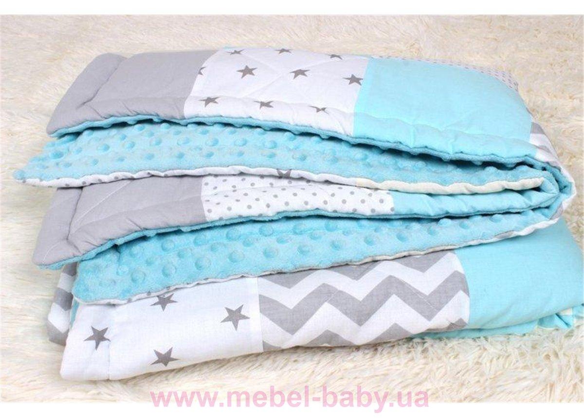 Детское лоскутное одеяло на плюше в нежно голубых тонах Осень-Весна Мирамель