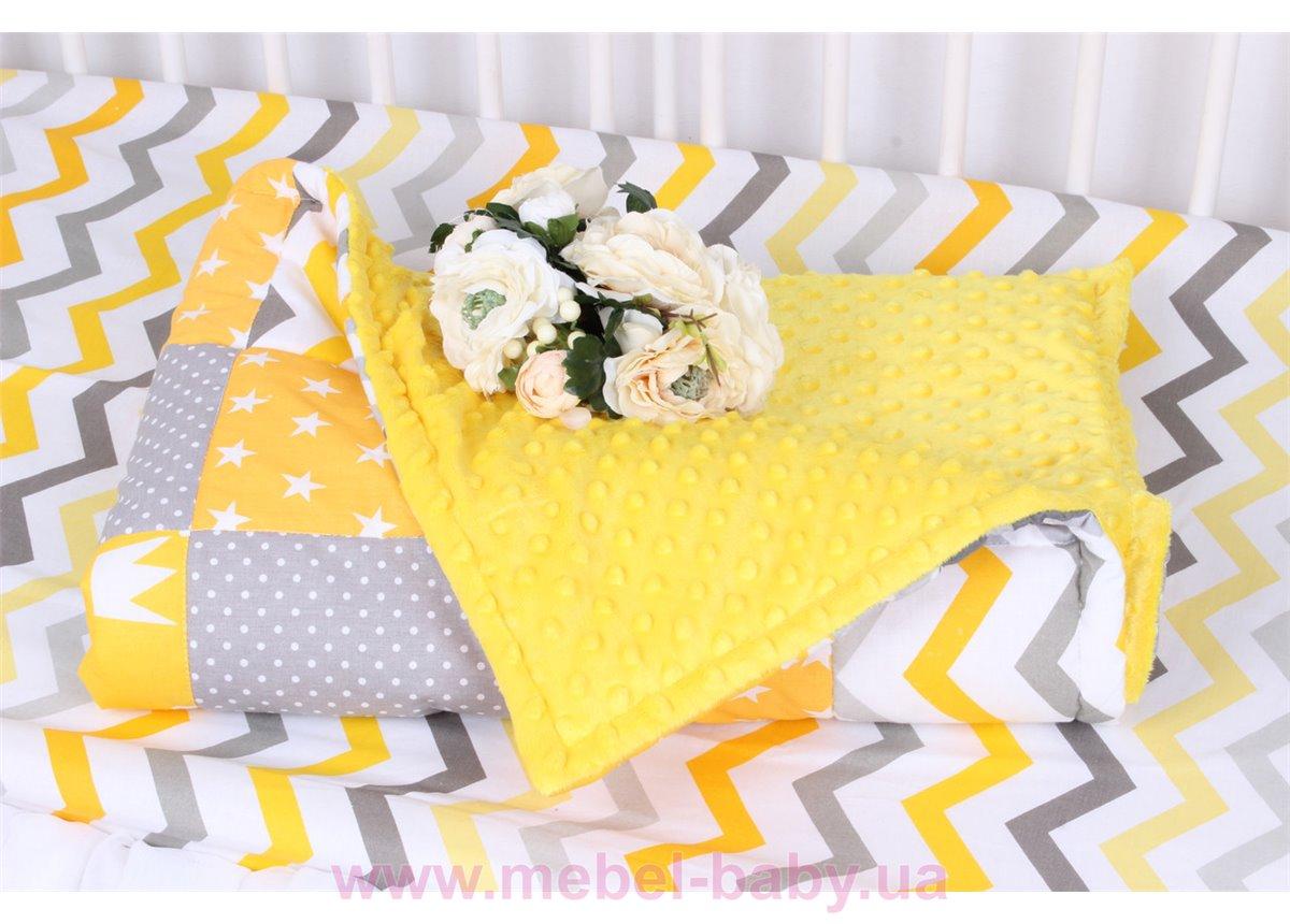 Детское лоскутное одеяло на плюше в серо-розовых тонах Осень-Весна Мирамель