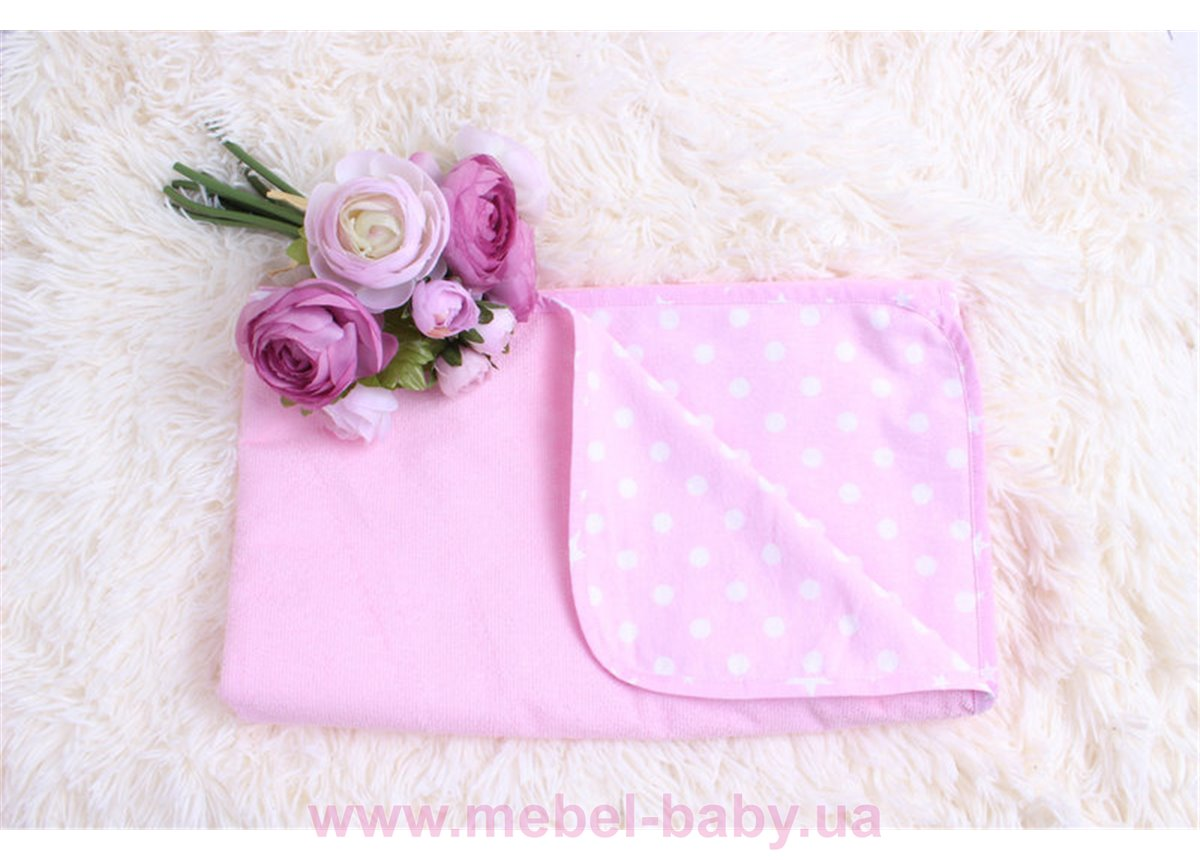 """Детская непромокаемая фланелевая пеленка """"Горох на розовом"""" Мирамель 80х100 см"""