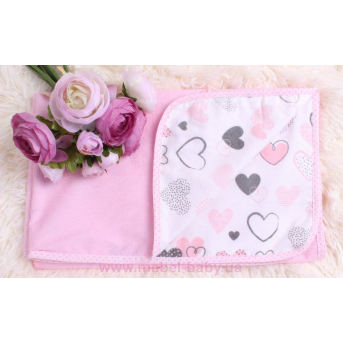 """Детская непромокаемая фланелевая пеленка """"Розовые сердца"""" Мирамель 80х100 см"""