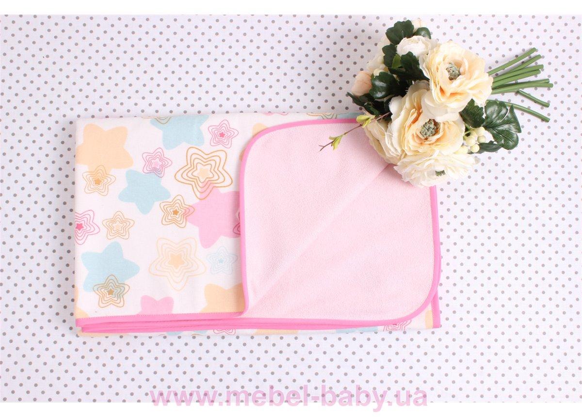 Детская непромокаемая фланелевая пеленка розовые звезды Мирамель 80х100 см