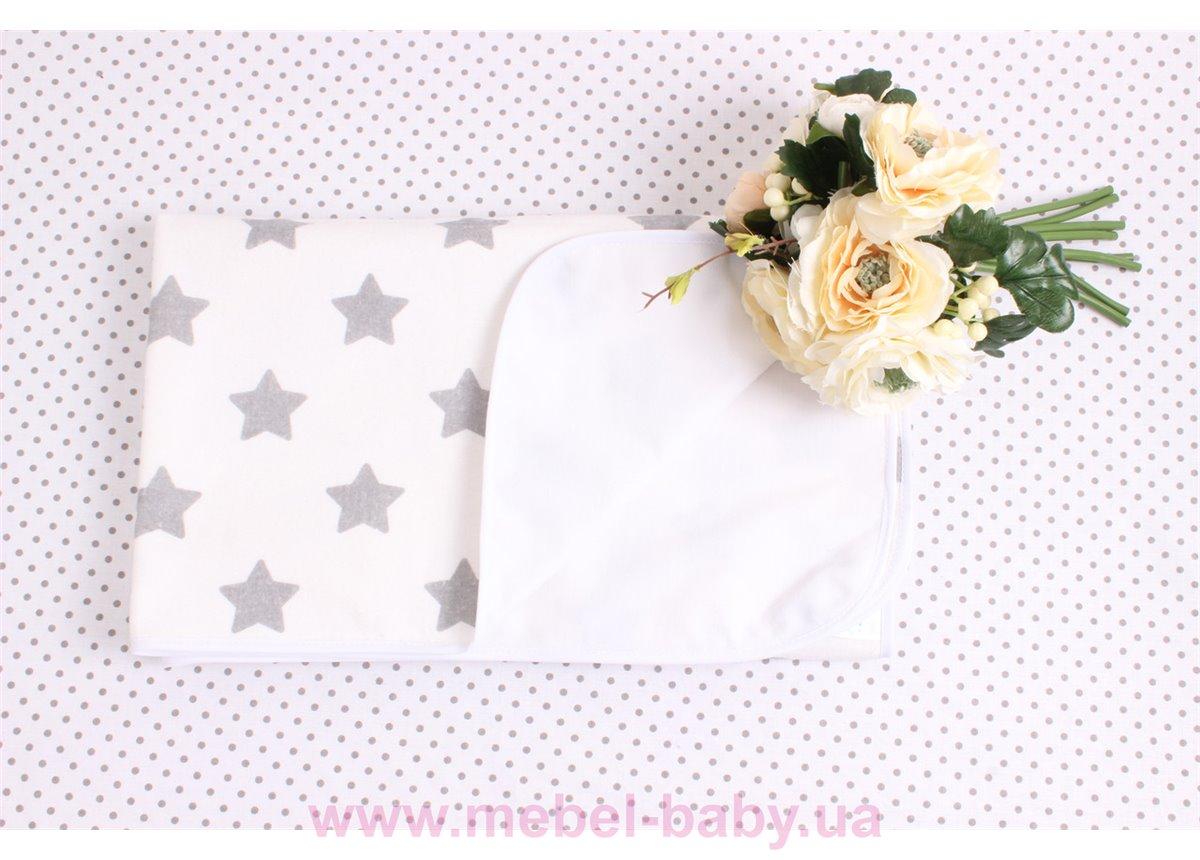 Детская непромокаемая фланелевая пеленка серые звезды Мирамель 80х100 см