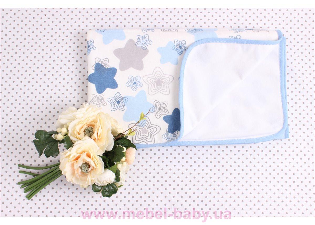 Детская непромокаемая фланелевая пеленка синие звезды Мирамель 80х100 см