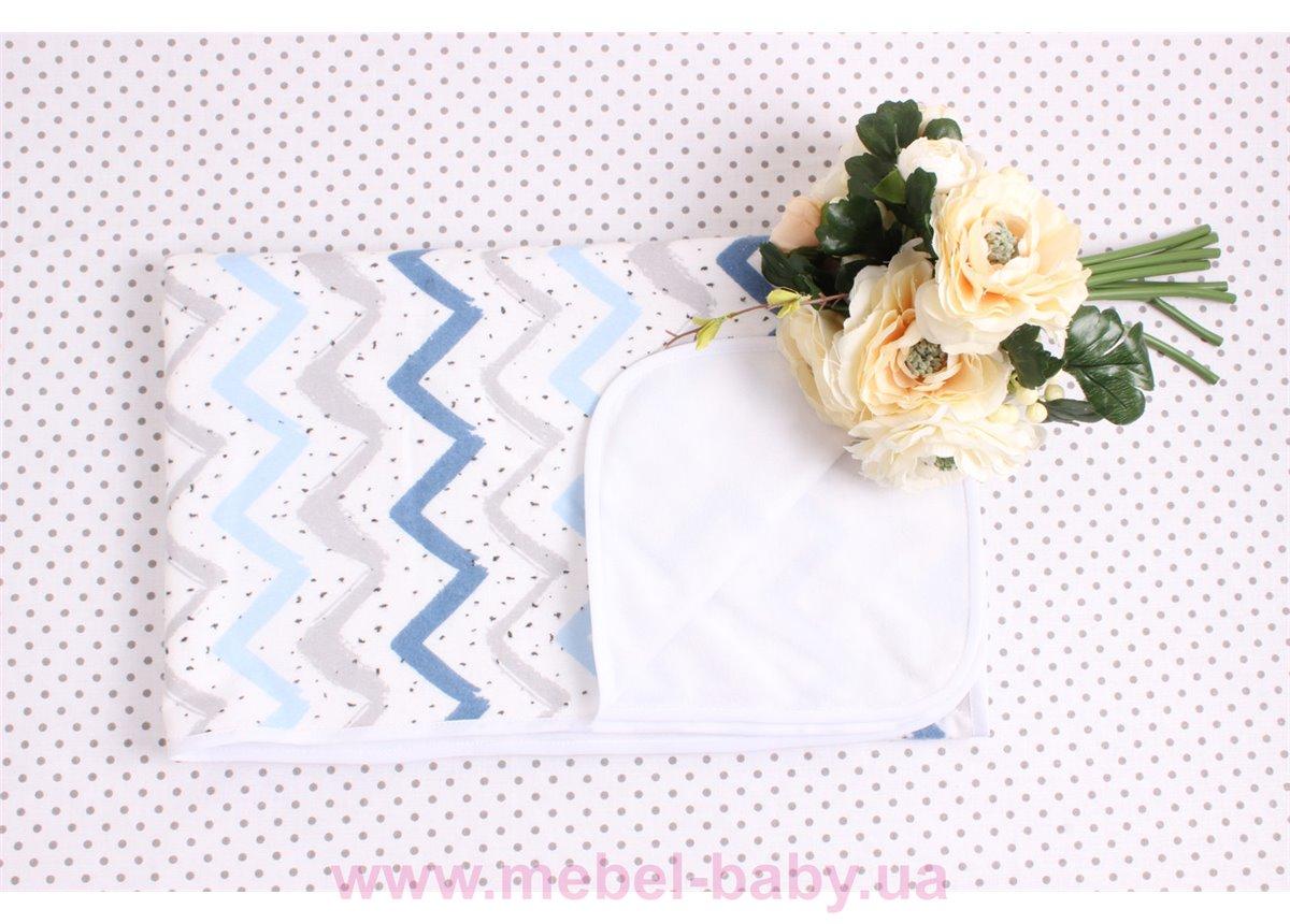 Детская непромокаемая фланелевая пеленка синие зигзаги Мирамель 80х100 см