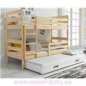 Двухъярусная кровать + доп. место + 3 матраса + бортик Eryk Triple BMS Group 80x190