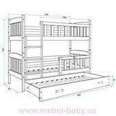 Двухъярусная кровать + доп. место + 3 матраса + бортик KUBUSTriple BMS Group 90x200