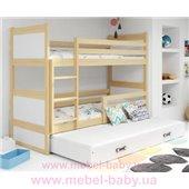Двухъярусная кровать + доп. место + 3 матраса + бортик RICOTriple BMS Group 80x160