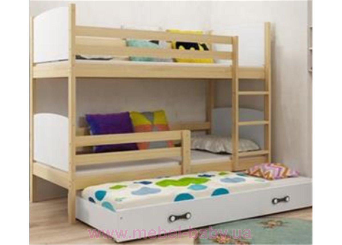 Двухъярусная кровать + доп. место + 3 матраса + бортик TAMITriple BMS Group 90x200