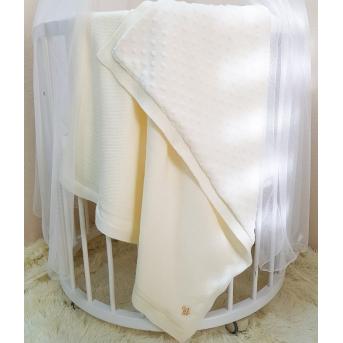 Плед вязаный с утеплителем WellSoft Рогожка молочный 80х100 Маленькая Соня