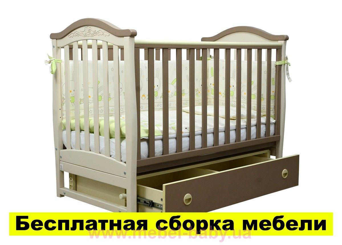 Распродажа Кроватка с ящиком и маятниковым механизмом Соня ЛД 3 Верес 60х120 Капучино