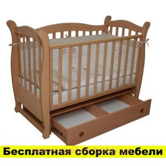 Распродажа кроватка с ящиком и маятниковым механизмом Соня ЛД 15 Верес 60х120 Бук