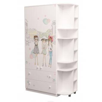 Шкаф комбинированный с ящиками плюс эркер Гламур MebelKon 211х110х50