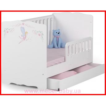 Распродажа_Не качающаяся кроватка для новорожденных Baby Серия Magic Princess 431 Meblik Белый 70х140 с ящиком и текстилем
