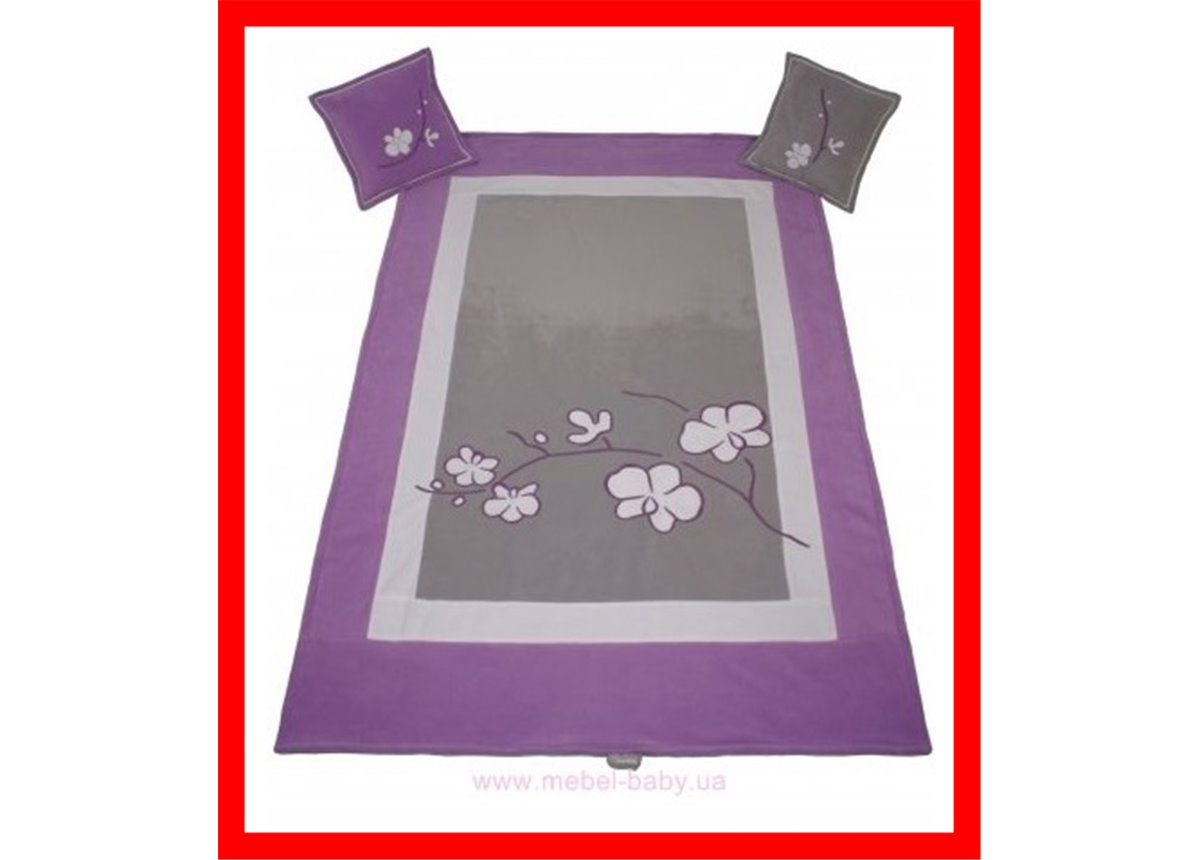 Распродажа 906_Покрывало и 2 подушки Серия Orchidea silver