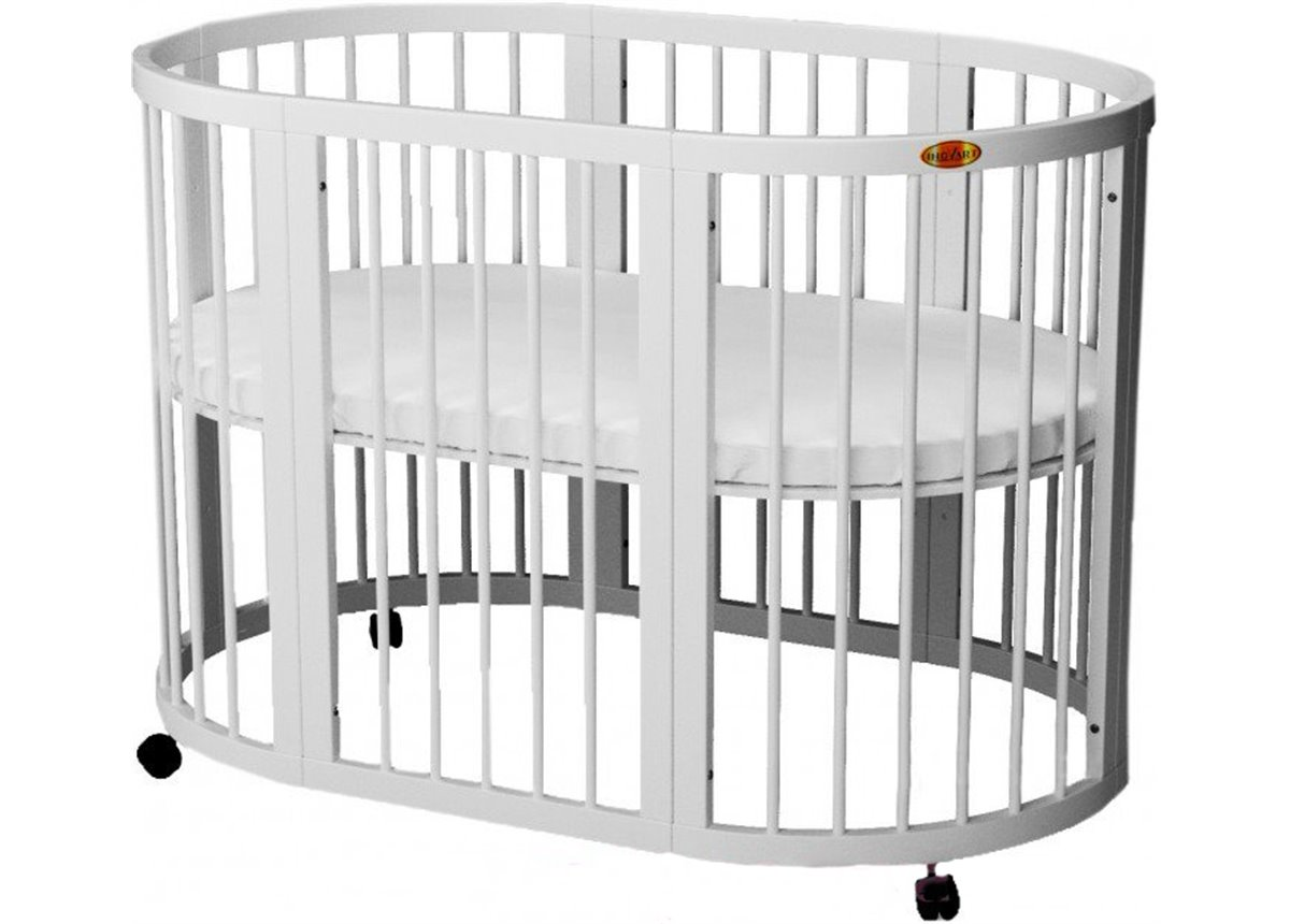Кроватка SMARTBED OVAL на полозьях для качания с опускающейся стенкой 9-в-1 IngVart 60x71