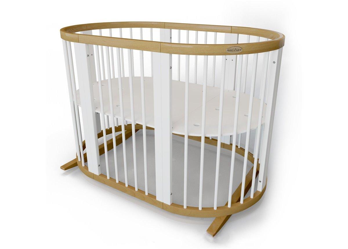 Кроватка SMARTBED ROUND на полозьях для качания 9-в-1 цвет бело-натуральный IngVart 72x72