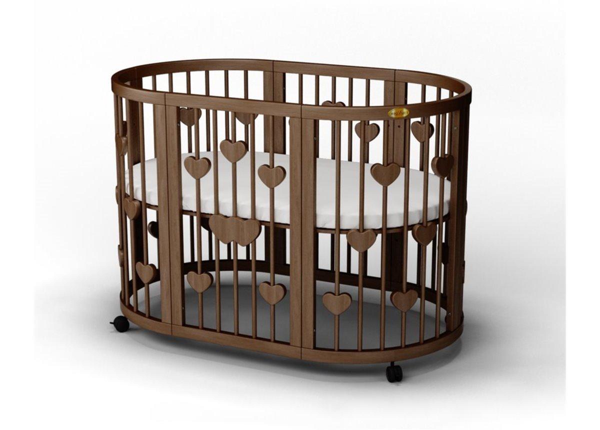 Кроватка SMARTBED ROUND на полозьях для качания с опускающейся стенкой 9-в-1 с сердечками IngVart 72x72