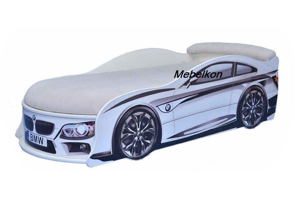 Кровать машина BMW 80х180 с подъемным механизмом с матрасом и спойлером MebelKon