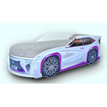 Кровать машина Джип Lexus 80х170 без подъемного механизма с матрасом и спойлером MebelKon серая