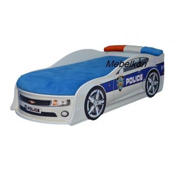 Кровать-машина Камаро Полиция 70х150 с подъемным механизмом с матрасом и спойлером MebelKon