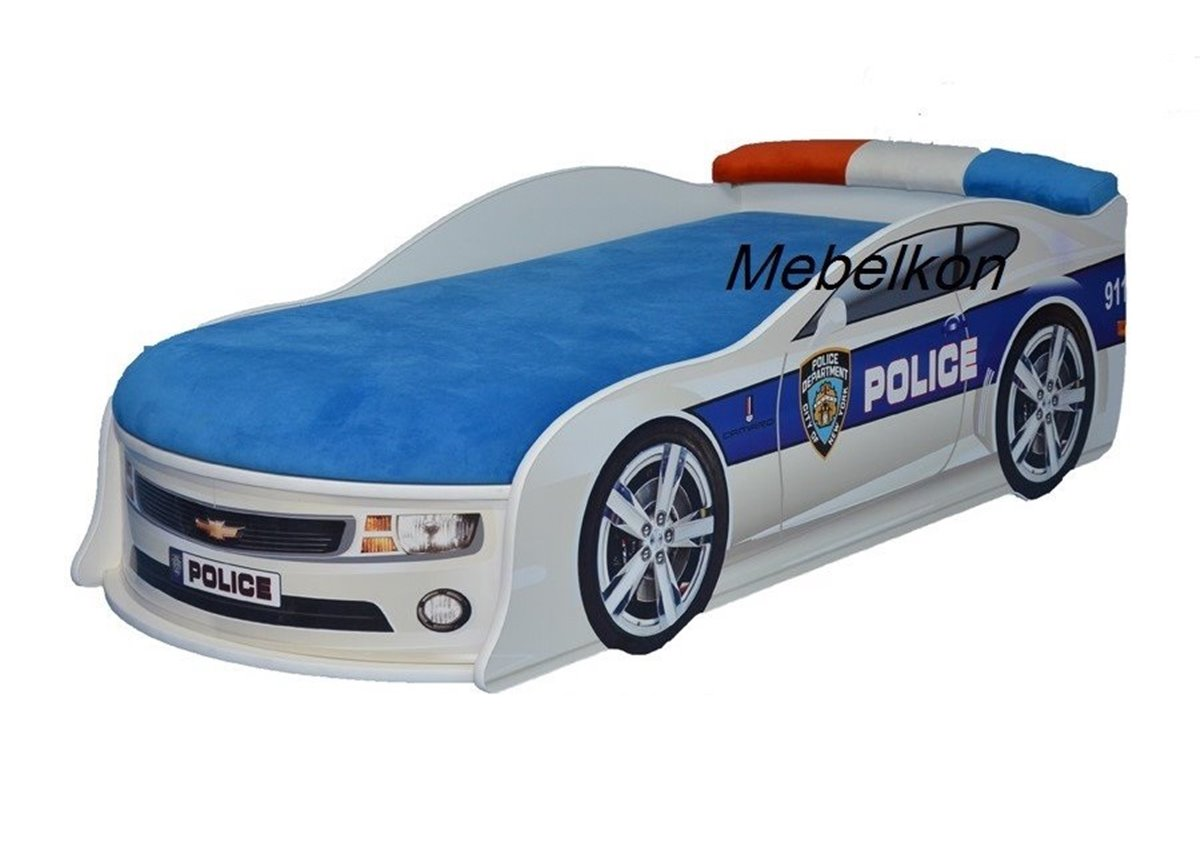 Кровать машина Камаро Полиция 80х180 с подъемным механизмом с матрасом и спойлером MebelKon