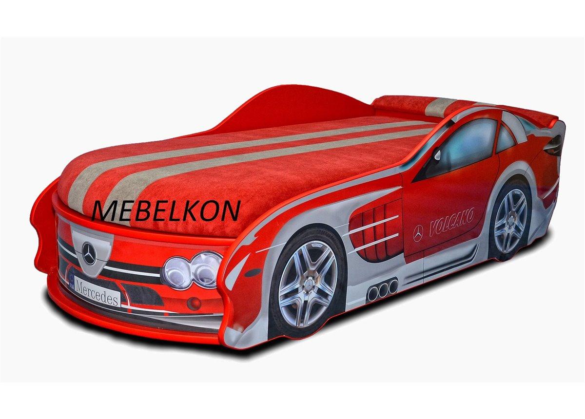 Кровать машина Мерседес 80х180 с подъемным механизмом с матрасом и спойлером MebelKon