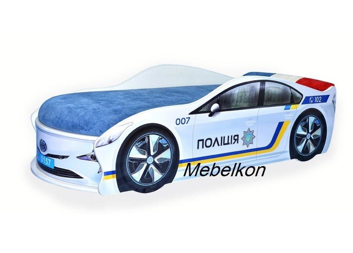 Кровать машина Полиция Украина 80х180 с подъемным механизмом с матрасом и спойлером MebelKon